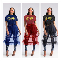 News Clothes Australia - NEWS POPPIN Letter Printing See-through Dresses 2019 Summer Ladies Round-neck Gauze Panelled Printing Dress Party Clothing S-3XL C5904