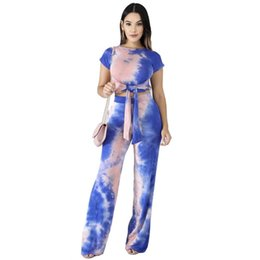 $enCountryForm.capitalKeyWord Australia - Tie-Dye Print Tracksuit Short Sleeve Bandage T-shirt Crop Top + Pants Leggings 2 Piece Women Set Lace Up T-shirt Outfits Suit Clothing S-XL