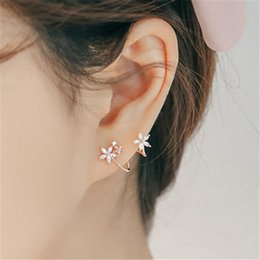 Curved stud earrings online shopping - Sweet Women Rhinestone Inlaid Curved Flower Ear Clip Piercing Stud Earrings for Women Charm Circle