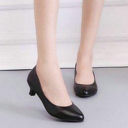$enCountryForm.capitalKeyWord Australia - Shoes 2019 Spring PU Leather Fine Toe Woman Lazy Pumps Fashion Work Dress High Heel Woman Black heel height 3cm 5cm 7cm EE-128