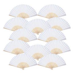$enCountryForm.capitalKeyWord Australia - Hand Held Fans White Paper fan Bamboo Folding Fans Handheld Folded Fan for Church Wedding Gift, Party Favors DIY