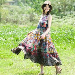 $enCountryForm.capitalKeyWord Australia - Cotton and hemp dress summer vacation breeze pure cotton printed pendant skirt Bohemian wind stitching long skirt
