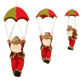 parachute cloth Australia - Christmas Ornaments Christmas Parachute Santa Claus Leather Jumping Umbrella Doll Tree Pendant Gift 003