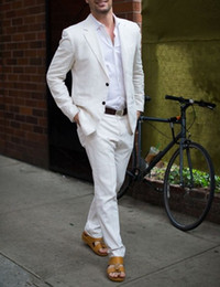 mens white linen two piece NZ - Latest Coat Pant Designs Ivory White Linen Casual Men Suit 2019 Summer Beach Tuxedo Simple Custom Made 2 Piece Jacket Mens Suits YM