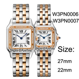 Cheap diamond bezel watChes online shopping - New W3PN0006 W3PN0007 Two Tone Rose Gold Diamond Bezel mm mm White Dial Swiss Quartz Womens Watch Ladies Watches Cheap Puretime B25h8