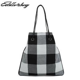 c42978b6504 2019 Fashion Estelle Wang Casual Tote Cotton Fabric Shoulder Bags England  Style Women Simple Large Capacity Black White Plaid Tote Handbag
