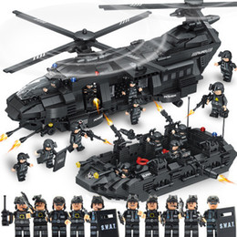 Gift Boat Australia - 1351PCS City Police SWAT Team Building Blocks Bricks Weapons Boat Helicopter Model Compatible Legoing Toys For Children Gift