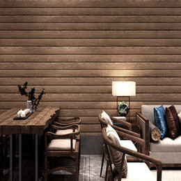 wood ceiling lights Australia - 3d solid pvc wood texture Chinese imitation wood grain wallpaper color vintage plank ceiling attic ceiling wallpaper