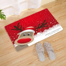outdoor santa claus decorations 2019 - Christmas Ornaments Door Mat Santa Claus Flannel Outdoor Carpet Merry Christmas Decorations Xmas Navidad Pendant Ornamen