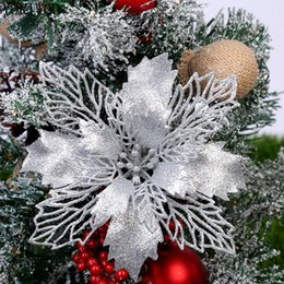 Xmas tree decorations flowers online shopping - YORIWOO Artificial Christmas Flowers Glitter Fake Flowers Merry Christmas Tree Decorations For Home Gift Xmas Ornament Y191021