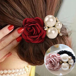 girls flower hair rings 2019 - 1pc Hair Accessories Women Fashion Style Big Rose Flower Pearl Rhinestone Hair Bands Elastic Rope Ring 5 Colors for Girl