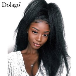 Coarse Yaki Lace Australia - Kinky Straight Lace Front Wig For Black Women Brazilian Coarse Yaki Human Hair Wigs With Baby Hair 150% Natural Remy Hair Dolago