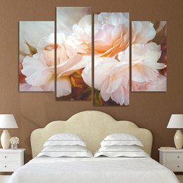 Art Canvas Prints Australia - Modern Canvas Painting Home Decorative Modular 4 Panel Beautiful White Flowers Pictures Wall Art Prints Poster For Living Room