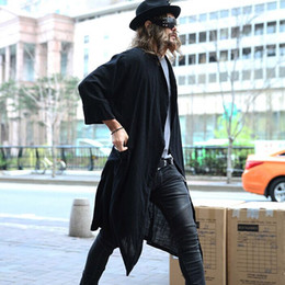 Wholesale long three quarter sleeve coat for sale - Group buy 2016 Novelty nightclub men s clothing Male three quarter sleeve cardigan loose medium long outerwear fashion trend Cloak coat