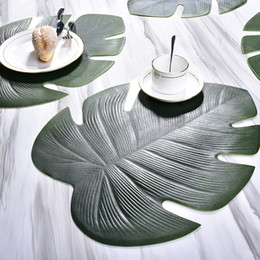 modern table cloths 2019 - PVC Table Mat Kitchen Placemat Non-slip Insulation Leaf Disc Bowl Pad Cup Waterproof Table Cloth Anti-slip Mat High Temp