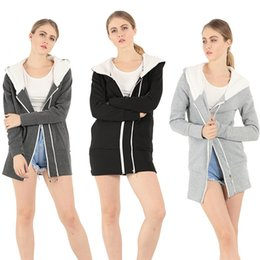 Wholesale design hoodies for free for sale – custom 2019 Both Zipper Increase Down Loose Coat Thickening Hat Ma am Sweater hoodie Fashion For Women New Design tracksuits hoodies