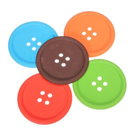 silicone mats wholesale NZ - 5 Colors Round Button Shaped Non-slip Insulated Silicone Cup Mats Coasters Holders
