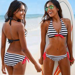 650e6545f040e Sexy Stripe Bikini Set Women s Swimwear Monokini Swimsuits Halter Tops  Tankini Push Up Bathing Swimming Suit