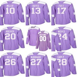 Discount kevin hayes - Custom Mens Momens Kids New York Rangers 10 J.T. Miller 13 Kevin Hayes 17 Jesper Fast 26 Jimmy Vesey Purple Ice Hockey J