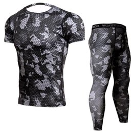 Free Running Clothing UK - Free shipping New Camouflage Compression Shirt Short Sleeve T Shirt + Leggings Fitness Sets Quick Dry Crossfit Brand Clothing