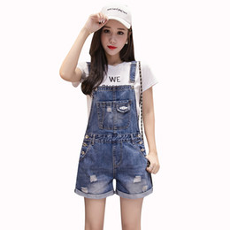 Discount fall rompers - 2019 Summer Fall Blue Denim Jumpsuits Female Strap Sleeveless frazzle High Waist Button Women Playsuits Rompers LU1047