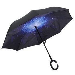 Shaped Handle Australia - Windproof Reverse Folding Double Layer Umbrella with C-shaped Handle