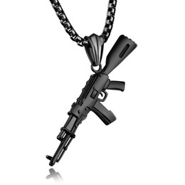 snake gun pistol Australia - Hip Hop Gun Pistol Shape Pendant Necklace 316L Stainless Steel Cool Men New Designer Charm Pendants Jewelry