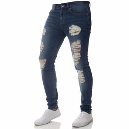 7068310afa Ripped Jeans for Men Hip Hop Super Skinny Men Jeans Stretch Blue Designer  Brand Fashion Slim Fit Streetwear Drop Shipping  357967