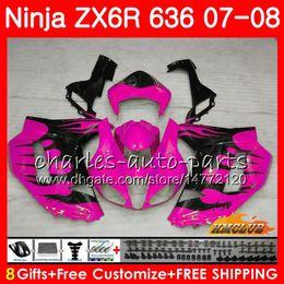 $enCountryForm.capitalKeyWord Australia - Fairing For KAWASAKI NINJA ZX-636 ZX 6R 600CC ZX6R 07 2008 34NO.31 ZX636 ZX-600 ZX-6R rose black hot 07 08 ZX600 ZX 6 R 636 2007 2008 Body