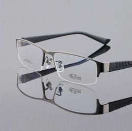 0719b29997d5 pure titanium men eyeglasses frames male halfl-rim myopia optical  spectacles frames eyewear prescription reading glasses oculos