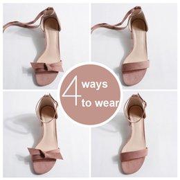 $enCountryForm.capitalKeyWord Australia - Brand Designer 4 Ways Wear Bowknote Sandals Women Suede Leather Gladiator Sandalias Ladies Thick Heels Lace Up Summer Shoes Y487 Y19070303