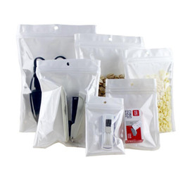 Chinese  Clear + white pearl translucent Plastic Poly OPP packing zipper Zip lock Retail Packages PVC bag earphone mobile phone self sealing bags manufacturers