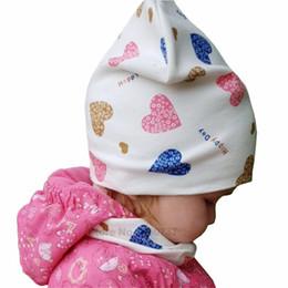 $enCountryForm.capitalKeyWord Australia - Baby Hat Infant Caps Cotton Scarf Baby Beanies Love Heart Print Spring Autumn Children Hat Scarf Set Baby Girls Hats Photo Props