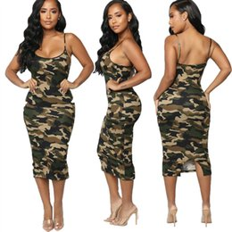 Wholesale womens beach sundresses resale online – 2020 Newest Fashion Summer Dress Fashion Camouflage Womens Bodycon Sleeveless Sundress Ladies Summer Beach Casual Party Dress