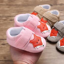 adb61761c Baby Girl Boy Shoes Cute dibujos animados Fox algodón mágico pegatinas  zapatos zapatillas antideslizantes suela suave niño pequeño 0-18 meses nave  de la ...