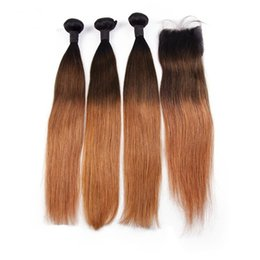 $enCountryForm.capitalKeyWord UK - 3 Tone Ombre Straight Human Hair Bundles With Closure 1B 4 30 Brazilian Hair Bundles With 4*4 Lace Closure Remy Hair