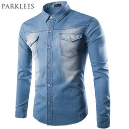 Long Shirts Designs Jeans Australia - Brand Men Shirt 2016 Fashion Denim Design Mens Slim Fit Long Sleeve Jean Shirts Casual Stylish Sky Blue Shirt Chemise Homme