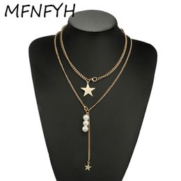 Long Pearl Chain Set NZ - MFNFYH Fashion Simulated Pearl Long Tassel Star Necklaces & Pendants Gold Chain Choker Necklace Set Gifts for Women Jewelry 2018