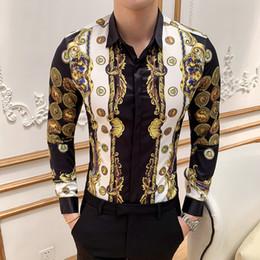 2019 Luxury Gold Men Shirt Casual Slim Fit manga larga camisas de impresión masculina Night Club Work vintage Camisa Camisa Social Masculina en venta