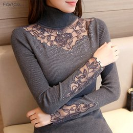 Wholesale korean women formal shirts online – Korean New Clothes Winter Slim Knitted Lace Flower Dress Shirt Lapel Sweater F1508 Drop Shipping