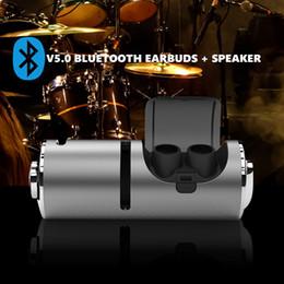 Speaker Ear Australia - 2 in 1 TWS Bluetooth 5.0 Earbuds Stereo Mini Earphones In-Ear Headsets Wireless Earphones Portable Bluetooth Speaker with Charging Box