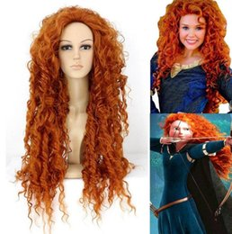 masked costumes for women UK - Curly Wavy Wigs Orange Hair Brave Merida Costume Wig Cosplay Party Masks Long Wig Decoration