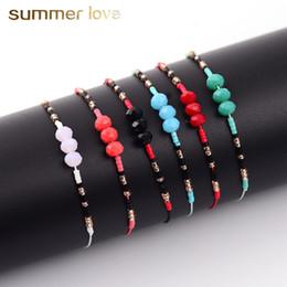 $enCountryForm.capitalKeyWord Australia - 12pcs set Natural Stone Beads Charms Bracelets for Women 12 Color Adjustable Handmade Woven Rope Chain Jewelry Children Birthday Gift