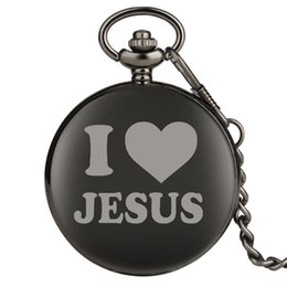 Chinese  I Love Jesus Series Quartz Pocket Watch Retro for Women Men Vintage Gift for Pocket Watch Attractive Thick Chain with Hook manufacturers