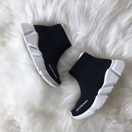 Speed S NZ - Paris Triple S Casual Shoes Fashion Brand Designer Sock Shoes Speed Trainer Black Red Triple Black Socks Sneakers 01