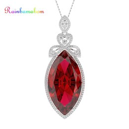 Huge silver cHain online shopping - Rainbamabom Vintage Solid Sterling Silver Huge Marquise Sapphire Ruby Gemstone Pendant Necklace Women Fine Jewelry