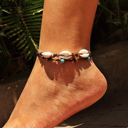 Wholesale Handmade Bohemia Shell Pendant Anklet for Women Girl Wood Bead Wax Rope Adjustable Anklets Bracelets Summer Beach Barefoot Jewelry Gifts