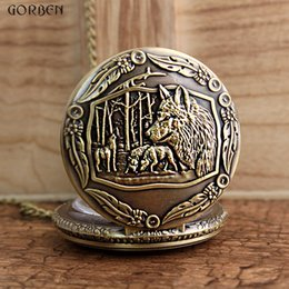 Unique Analog Watches Australia - Retro Unique Wolf Family Analog Pocket Watch For Women Child Wolf Mother And Baby Pendant Necklace Chain Gift Quartz Alloy Watch