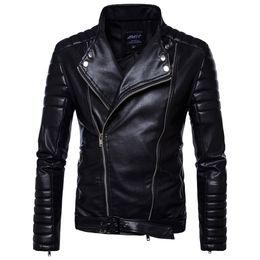 Jackets Motorcycles Nylon Australia - 2019 new Brand Man Zipper Leather Jackets Pu Motorcycle Leather Motorcycle Leather Jacket Men Black 5xl