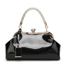 Red clutches online shopping - Designer fashion patent leather shoulder diagonal shoulder bag dinner